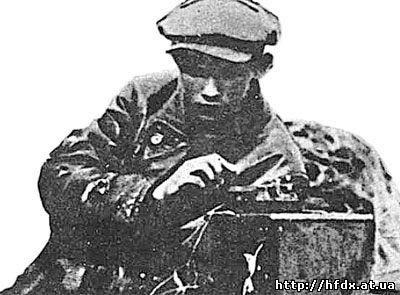 H.Шмидт со своей аппаратурой, июль 1928 г